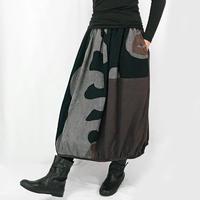 再3!草木染め、墨、マクア染の手描きバルーンスカートB、フリーサイズ