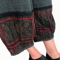 Mサイズ、ジョムトン手織り綿のもんぺ、モン刺繍付きパンツ黒、オールシーズン