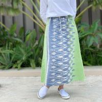 84cm丈、草木染ミックス、手織絣綿のロングスカート