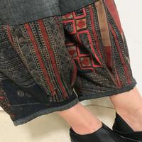 L~LLサイズ、ジョムトン手織り綿のもんぺ、モン刺繍付きパンツ黒、オールシーズン