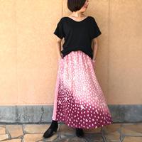 きものリメイクロングスカート、ロング丈、桃色(ピーチピンク)寿柄、、オールシーズン