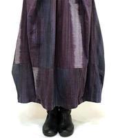 手織り綿絣パープルミックス、バルーンスカート、オールシーズン