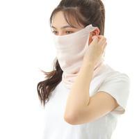 シルク素材のネックウォーマー、マスク、綿と絹の二重構造