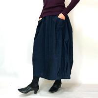 手織り綿インディゴ染め、バルーンスカート、オールシーズン