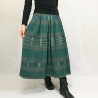 手織り綿絣ロングスカート、グリーン、オールシーズン