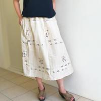着物リメイク、涼し気なベージュの絣プリントロングスカート、大きいサイズ