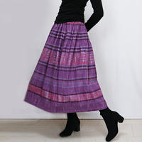 手織り綿絣ロングスカート、春萌ピンク、オールシーズン
