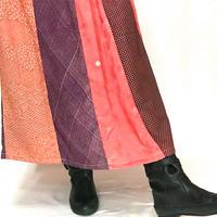 きものリメイクのロングスカート、パッチワーク、オールシーズン