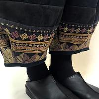 M~Lサイズ、ジョムトン手織り綿のもんぺパンツ、ヤオ刺繍付き、オールシーズン