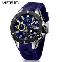 腕時計 MEGIR クロノグラフ シリコンストラップ クォーツ メンズ ウォッチ 853