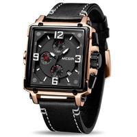腕時計 MEGIR クロノグラフ 本革 クォーツ メンズ ウォッチ ファッション 413