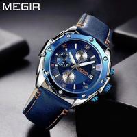 腕時計 MEGIR クロノグラフ 本革 クォーツ メンズ ウォッチ ファッション 689