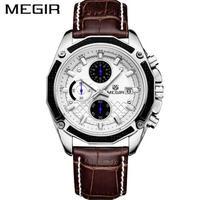 腕時計 MEGIR クロノグラフ 本革 クォーツ メンズ ウォッチ ファッション 175
