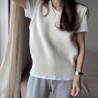 bas standard lambs wool vest(アイボリー 即納)