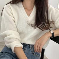 ounce boucle v neck knit(即納)