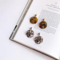 metal&color plate earring