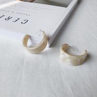 marble bold hoop earring(WH)