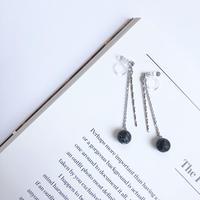 black stone swing earring