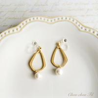 metal drop&pearl earring