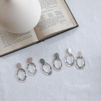 color metal&clear shell earring