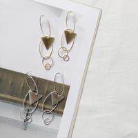 metal circle long earring
