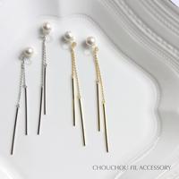 pearl&back long stick earring
