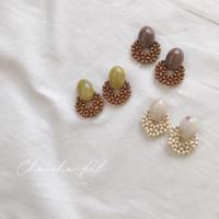 wood circle beads earring