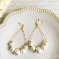 cotton pearl&drop hoop earring