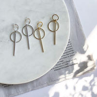 W circle long stick earring