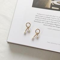 knit pearl earring