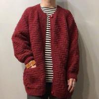 ワインレッド 編みデザイン カーディガン/古着 ビンテージ