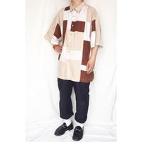 ビッグサイズ パッチワークデザイン 半袖シャツ / 古着 ビンテージ