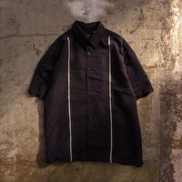 ブラック デザイン 半袖 レーヨンシャツ / 古着 ビンテージ