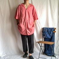 "1990's~ KING SIZE super bigsize open collor ""pink"" S/S cuba shirt"