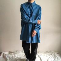 1990's~ bigsize stand collor L/S denim shirt
