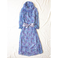 ブルー×ラベンダー 花柄 シースルー ワンピース/古着 ビンテージ