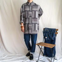 1980's~ bigsize patterned all over L/S shirt made in USA
