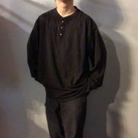 1990's~ ブラック ビッグサイズ ヘンリーネック ロンTee /古着 ビンテージ