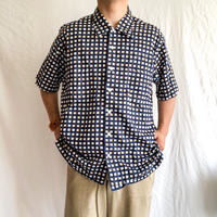 "Vintage 1960's~ ""MAUS&HOFFMAN"" plaid pattern cotton S/S shirt"