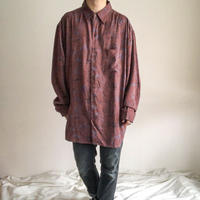 1990's~ bigsize herringbone×art design L/S silk shirt