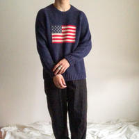 """1990's~ """"LANDS END"""" stars and stripes cotton sweater"""