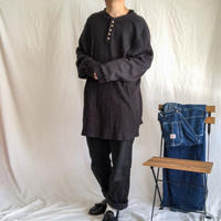"1990's~ ""KING SIZE"" bigsize black thermal henly neck L/S tee"