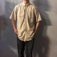 1970's~1980's  インド綿 ストライプ柄 ボタンダウン 半袖シャツ / 古着 ビンテージ