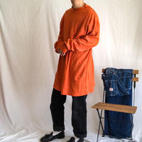 1990's~ KING SIZE bigsize terracotta color mock neck L/S tee