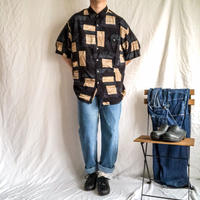1990's~ patterned all over rayon S/S shirt