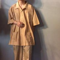 ~1980's ベージュ ビッグサイズ キューバシャツ / 古着 ビンテージ