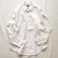 1980's~ Ralph Lauren ラルフローレン ポニー刺繍 ボタンダウン 長袖 白シャツ / 古着 ビンテージ