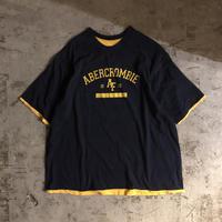 1990's~ USA製 ABERCROMBIE&FITCH アバクロンビー&フィッチ ツートンカラー リバーシブル 半袖Tシャツ / 古着 ビンテージ アバクロ