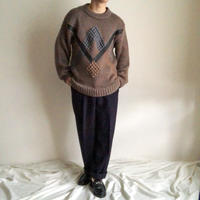 1990's~ leather design acryl sweater