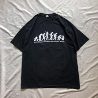 "2000's~ ""human evolution"" black print  S/S tee"